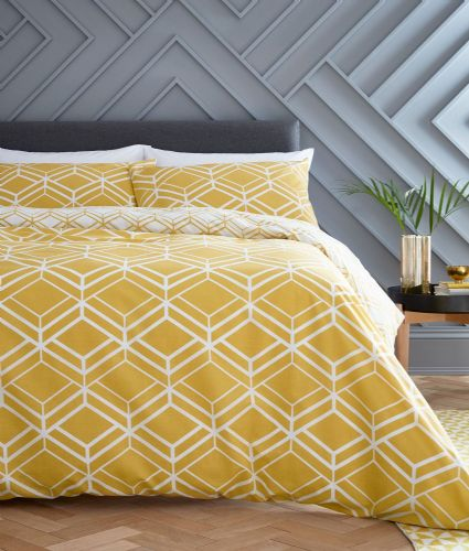Catherine Lansfield Network Geo Ochre Bedding Set